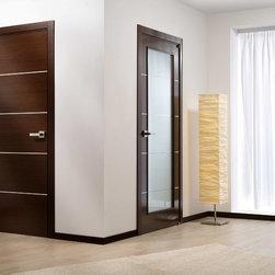 """Contemporary Italian Wenge Interior Single Door with Decorative Strips - SKU#MiaBrandValdoDoor TypeInteriorManufacturer CollectionModern European Interior DoorsDoor ModelDoor MaterialWoodWoodgrainItalian WengeVeneerNatural Italian Wenge Wood VeneerPrice663Door Size Options18"""" x 80"""" (1'-6"""" x 6'-8"""")  $024"""" x 80"""" (2'-0"""" x 6'-8"""")  $028"""" x 80"""" (2'-4"""" x 6'-8"""")  $030"""" x 80"""" (2'-6"""" x 6'-8"""")  $032"""" x 80"""" (2'-8"""" x 6'-8"""")  $036"""" x 80"""" (3'-0"""" x 6'-8"""")  $0Core TypeSwedish HoneycombDoor StyleModernDoor Lite StyleDoor Panel StyleFlush PanelHome Style MatchingModern , ContemporaryDoor ConstructionPrehanging OptionsPrehung , SlabPrehung ConfigurationSingle DoorDoor Thickness (Inches)1.75Glass Thickness (Inches)Glass TypeGlass CamingGlass FeaturesGlass StyleGlass TextureGlass ObscurityDoor FeaturesDoor ApprovalsDoor FinishesPrefinished; natural Italian wenge wood veneerDoor AccessoriesWeight (lbs)340Crating Size25"""" (w)x 108"""" (l)x 52"""" (h)Lead TimePrefinished Slab Doors: 7 daysPrefinished Prehung:14 daysWarranty2 Year Limited Manufacturer WarrantyHere you can download warranty PDF document."""