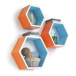Blancho Bedding - [Bright And Sunny] Hexagon Leather Wall Shelf / Floating Shelf (Set of 3) - These beautifully Hexagonal Shaped Wall Shelves display the art of woodworking and add a refreshing element to your home. Versatile in design, these leather wall shelves come in various colors and patterns. These elegant pieces of wall decor can be used for various purposes. It is ideal for displaying keepsakes, books, CDs, photo frames and so much more. Install as shown or you may separate the shelves to create a layout that suits your taste and your style. They spice up your home's decor, and create a multifunctional storage unit for all around your home. Each box serves as a practical shelf, as well as a great wall decoration.