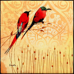 "Tile Art Gallery - Yellow Birds Bee Eaters - Hummingbird Themed Ceramic Accent Tile, 4.25 in - This is a beautiful sublimation printed ceramic tile entitled ""Yellow Birds Humming"" by Evelia. The printed tile displays a rooster with a canvas background. Pricing starts at just $14.95 for a 4.25 inch tile."