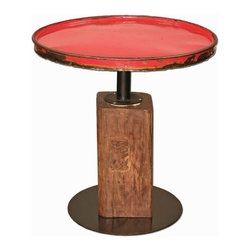 Groovystuff - Groovystuff Small Ruby Moonshine Side Table - The Moonshine End Table mixes the best of both worlds-reclaimed steel drum top mounted on a reclaimed teak base. It's urban and edgy and adds a pop of electric color to your home.