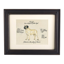 Ballard Designs - Mastiff Dog Print - Our Mastiff Dog Print was created by the dog-loving, husband and wife team of Vivienne and Sponge. The Mastiff is known for being even-tempered, gentle and loyal. Each Mastiff portrait is hand colored and embellished with notes on the breed's special characteristics. Printed on antiqued parchment, signed by the artists and framed in antique black wood with eggshell mat and glass front. Mastiff Dog Print features:Hand colored & signed . Printed on parchment. Eggshell mat. Antique black frame