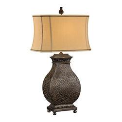 "Wildwood - Transitional Wildwood Moroccan Bronze Table Lamp - Add some exotic style to your home with the Moroccan Bronze table lamp from Wildwood. The textured base has a lovely hand-finished old bronze surface. Bulging curved vase silhouette sits on a square footed base. Elegant silkette shade adds a bit of sophistication. A versatile way to add a bit of Moroccan style to your decor. Hand-finished old bronze tiled pattern. Molded composite construction. Silkette empire shade. Takes one 100 watt bulb or equivalent (not included). 3-way switch. 33"" high. Shade is 10""x17"" at top 12""x18"" at bottom 11"" high.  Hand-finished old bronze tiled pattern.  Molded composite construction.  Silkette empire shade.  Takes one 100 watt bulb or equivalent (not included).  3-way switch.  33"" high.  Shade is 10"" by 17"" at top 12"" by 18"" at bottom 11"" high."