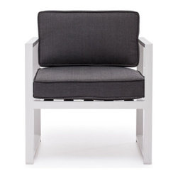"""Grandin Road - Golden Beach Outdoor Armchair - Sleek collection with brushed aluminum frames. Select an Armchair, Corner Chair, Right-facing Chaise, Left-facing Chaise, Middle Chair, or Coffee Table; each piece is sold separately. Included 4""""-thick charcoal-hued cushions are made from UV-resistant fabric around antimicrobial foam cores. All pieces arrive assembled. Clean surfaces with a dry cloth, cushions with a damp cloth and mild fabric cleaner. Create your own collection with the modern lines of our Golden Beach Outdoor seating Collection. Modular pieces rearrange effortlessly, so you can transform your setting from an afternoon lounge to an evening celebration in moments.. . . . . Imported."""