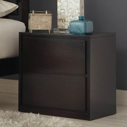 Coaster - Hudson Night Stand - Subtly sophisticated with a contemporary feel, this espresso finish collection offers straight lines and clean edges to create an eye-catching bedroom centerpiece. The headboard comes in dark brown vinyl padding for supreme comfort. The timeless design of the Hudson bedroom collection makes this set a simple choice.