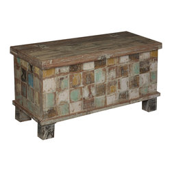 Sierra Living Concepts - Rustic Reclaimed Wood Storage Chest - This Rustic Reclaimed Wood Storage Chest is decorated with brown, white, amber, blue, and green squares. The colors are all muted earth tones that invite all comers to put up their feet and relax.