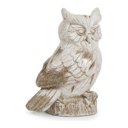 Singleton Garden Owl - This hooty friend is perfect for adding character inside or out! with the look of aged, carved, painted wood, this wise owl works great as a door stop, a garden decoration, or a decorative room accent in an enclosed patio.