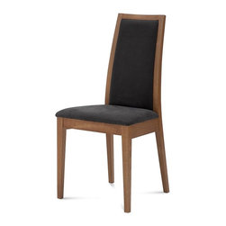 Domitalia - Topic Chair - Walnut Finish - Beige Fabric - Set of 2 - Domitalia's sophisticated Topic Chair features a modern high back framed in Wenge or Walnut stained beechwood. The lightly padded upholstered seat and slightly tapered back provide comfort and stability for long conversations, while the durable abrasion-resistant fabric can withstand everyday use. Select the Walnut frame with Black fabric or the Wenge frame with Beige fabric. Sold only in sets of 2.