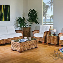 Hospitality Rattan Pegasus Deep Seating Sofa Group - The Hospitality Rattan Pegasus Deep Seating Patio Sofa Group has a special woven wicker exterior done in a lattice pattern. The frame is made from rattan poles and the entire collection has sturdy wood feet that complement the wood accent of the armrests.