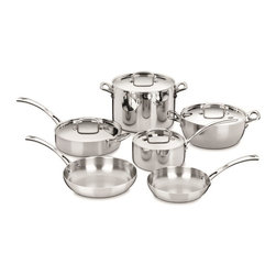 """Cuisinart French Classic 10 Piece Cookware Set - The kitchens of France were the inspiration behind the elegant Cuisinart French Classic Stainless Cookware Collection. The French Classic 10 piece cookware set features professional triple ply stainless construction  the 3 layer design provides optimal heat and consists of a pure aluminum core enveloped by pure stainless steel.  Heat Surround™ Technology allows heat to be distributed evenly along the bottom and side walls of the cookware.  A high-polished induction-ready stainless steel exterior and stainless steel interior ensure professional cooking performance.  Made in FranceSet Includes                                   2 Qt. Saucepan w/Cover            3 Qt. Saute Pan w/Helper Handle & Cover            4.5 Qt. Dutch Oven w/Cover            8 Qt. Stockpot w/Cover            8"""" French Skillet            10"""" French Skillet                         Product Features                                  Professional Triple Ply Stainless construction            Exceptional Heat- Heat Surround™ Technology            Stay-Cool Stainless Handles - Elegant  stainless  riveted handles remain cool and provide a comfortable grip.            Dishwasher safe            Lifetime warranty"""