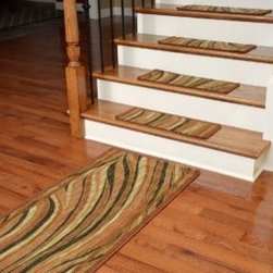"Dean Flooring Company - Washable Non-Skid Carpet Stair Treads - Jazzy Terra Cotta (13) PLUS a 5' Runner - Washable Non-Skid Carpet Stair Treads - Jazzy Terra Cotta (13) PLUS a Matching 5' Runner : Washable non-skid carpet stair treads by Dean Flooring Company. Helps reduce slips on your hardwood stairs. Great for helping your dog easily navigate your slippery staircase. Polypropylene pile with a machine washable non-skid latex backing (wash on delicate in cold water, line dry). Also easy to spot clean or vacuum. Reduces noise. Reduces wear and tear on your hardwood stairs. Each set contains 13 pieces PLUS a matching 5' runner. Each tread is approximately 25"" x 9"". Easy DIY installation with double-sided carpet tape (not included). Adds an attractive fresh new look to your staircase."