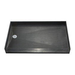 """Tile Redi - Tile Redi 3460LBF-PVC 34"""" D x 60"""" W Curbless Shower Pan with Left PVC Drain - 34"""" Depth x 60"""" Width Curbless Tile Redi Shower Pan with Left PVC Drain. Barrier free entrance on the 60"""" W front side. Depth measured from the front of the entrance to the outside of the back splash wall. The shower pan includes a round adjustable polished chrome (stainless) drain plate, and Redi Poxy Epoxy Tile Setting Adhesive to tile the surface of the shower pan. The Redi Base is fabricated as a one-piece, leak proof shower pan - and comes pre-pitched for perfect water drainage. Shower pans are made out of a rugged polyurethane with ribs underneath for added strength. Each shower pan is tile ready, meaning you can set tile directly on the surface of the shower pan with no additional waterproofing. Tile Redi Shower Pans are easy to install whether you are a contractor or do-it-yourselfer, and a 1/8"""" Trowel can be used during installation depending on the tile, marble, or stone being used. In addition, all Tile Redi shower pans comply with all national and local plumbing codes and are UL listed."""