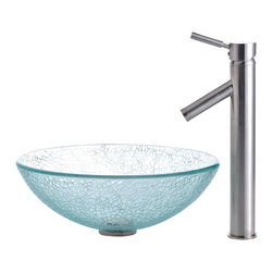 Kraus - Kraus C-GV-500-12mm-1002SN Broken Glass Vessel Sink and Sheven Faucet - Add a touch of elegance to your bathroom with a glass sink combo from Kraus