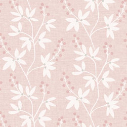 Brewster Home Fashions - Linnea Pink Botanical Trail Wallpaper Bolt - This whimsical wall paper looks oh so sweet in pink trailing a floral silhouette across walls with a perfect decoration of berries.