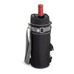 Picnic time - Wine Sack-Black With Grey Trim - Those who enjoy wine will appreciate the style and simplicity of the Wine Sack, an insulated single-bottle tote with an adjustable shoulder strap. It features a stainless steel waiter-style corkscrew conveniently stored in its own secure pocket. The Wine Sack is made of durable polyester canvas with complementing trim. The tote is fully-insulated to keep your wine at the perfect temperature until you're ready to uncork it. Perfect for any occasion. When you'd like to bring your own wine to share, let the Wine Sack help you take it there!