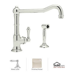 "Rohl - Rohl A3650/11LMWSPN-2 Polished Nickel Country Kitchen Cinquanta - Cinquanta Kitchen Faucet in Polished Chrome with Side Spray and Metal Lever HandleBorn in the Piedmonte region of France, an area known for its rich tradition of cuisine and culture, the Country Kitchen collection is defined by exquisite design. Straight lines are paired with gentle curves and ribbing details to create a classic look that is as popular today as it was years ago. And with function set as the cornerstone of all Rohl products, rest assured that the beauty of the Country Kitchen collection does not overshadow its use. Smooth handle operation, lifetime ceramic disc valves, and a sturdy feel that only all-brass construction could allow are all defining features of the Country Kitchen collection. As one of Rohl's largest collections, you will find that there are a variety of bold styles and finishes to choose from.Rohl A3650/11LMWS-2 Features:All brass faucet body construction - weight: 10 lbs.Hand-machined from solid brass stockIndustry leading, 1/4 turn lifetime ceramic disc valveSuperior finishing process – chemical, scratch, and stain resistantNumber of installation holes required: 2Spout swivels to allow for unobstructed sink access1.5 gallons-per-minute flow rateInstalls onto decks up to 2-7/16"" thickMetal lever handles includedOverall height: 11"" (measured from counter top to highest point of faucet)Spout height: 8-1/4"" (measured from counter top to faucet outlet)Spout reach: 11"" (measured from center of faucet base to center of faucet outlet)Low lead compliant – complies with federal and state regulations for lead contentDesigned for use with standard U.S. plumbing connectionsExtra secure mounting assemblyAll necessary mounting hardware includedFully covered under Rohl's limited lifetime warrantyManufactured in New Zealand, Western Europe, and/or North America"