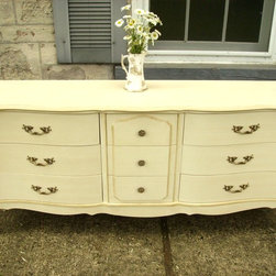 Vintage French Glam Sideboard - No Longer Available. Scalloped top. Lovely lines with a bone finish. Free Delivery in Toronto, Dufferin County and Wellington County.  Monica Vida & Peter Balonjan of My Paris Apartment Antiques