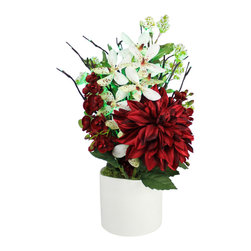 The Firefly Garden - Christmas Bouquet - Illuminated Floral Design, Red Dahlia with Green Lights - A bold red Dahlia is accented with white and red Vanda Orchids, along with Pittosporum in a white ceramic textured vase.  This elegant bouquet is illuminated by green LED lighted branches.