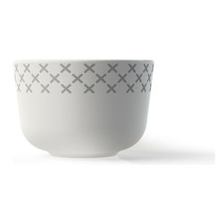 MENU - Egg Cup, Grey Stitch - Serve your Sunday morning eggs in style. This porcelain egg cup will add a bit of international flair to your table. Designed by Danish ceramist, Gry Fager, it has a traditional cross-stitch pattern that's popular in Denmark.