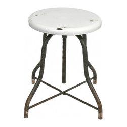 Medical Stool - 1930's Vintage iron medical stool with porcelain enamel seat.
