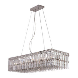 Polished Chrome And Crystal 12 Light Chandelier/Island Light - Condition: New - in box