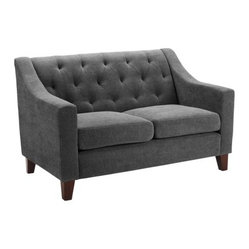 Tufted Love Seat, Gray