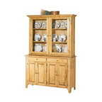 Renovators Supply - Hutches UnFinished Pine Walden Glass Hutch Top Only | 666838 - The Walden hutch top is designed to display and protect your fine dinnerware. Three shelves with plate grooves- behind glassed doors- keep your collection safe. Unfinished pine. 42 in. high x 52 in. wide x 12 3/4 in. deep.