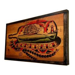 "Handmade Shipyardink - Reclaimed Wood Wall Art, 13"" X 19"" - 19"" x 13"", Reclaimed wood wall art. Inked with Quyen Dinh art ""Homeward"""
