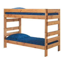 Chelsea Home - 80 in. Twin Over Twin Stackable Bunk Bed - NOTE: ivgStores DOES NOT offer assembly on loft beds or bunk beds.. Includes slat packs. Mattresses not included. Rustic style. Metal brackets are used to connect the rails to the headboard and footboard. Rails include a 1.25 in. cleat which is glued and screwed to the rail for extra strength to support the mattress foundation. Exceed all safety standards of the consumer product safety commission. Constructed for strength and durability. Can hold up to 400 lbs. of distributed weight. Warranty: One year. Made from solid pine wood. Ginger stain finish. Made in USA. Assembly required. Distance between top and bottom bunk: 34 in.. 80 in. L x 41 in. W x 61 in. H (140 lbs.). Bunk Bed Warning. Please read before purchase.Warning: Falling hazard, bunk beds should be used by children 6 years of age and older!