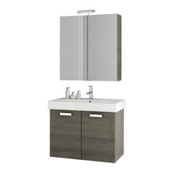 ACF - 28 Inch Grey Oak Bathroom Vanity Set - Made in and imported from Italy by ACF, this trendy bath vanity is best in contemporary bathrooms.