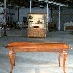 Farm Dining Table with Brown Cherry Stain - Made by www.ecustomfinishes.com