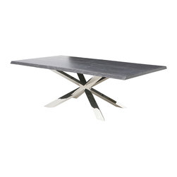 Nuevo Living - Couture Grey Oxidized Oak 96-inch Dining Table by Nuevo - HGSR327 - - Polished Stainless Steel