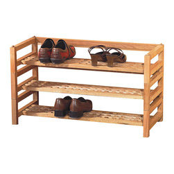 "Asia Direct - Natural Finish Wood Stackable Shoe Rack - Natural finish wood stackable shoe rack. Each level sold separately. Each one measures 29"" x 14"" x 6"" H. Some assembly required."