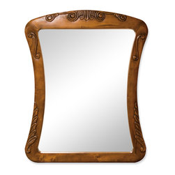 "Hardware Resources - Lyn Design Bathroom Mirror - Warm Chestnut Normandy Mirror by Lyn Design 30"" x 37.5"" warm chestnut mirror with hand-carved details and beveled glass."