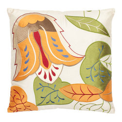 Safavieh Home Furniture - Multi and Cream 18-Inch Decorative Pillows Set of Two - - This 18-inch Cream Decorative Pillows (Set of 2) features a sophisticated iteration of a 21st century botanical print this pillow studies the anatomy of a tangerine orange tulip on softly shimmering cream satin polyester ground. The cream background is adorn with accents of orange green red and blue that highlight the blossom and leaves.   - Multi / CrFam  - Some assembly required - Yes  - Please note this item has a 30-day manufacturer's limited warranty that covers product defects. Inspect your purchase upon delivery and notify us immediately with any concerns. Safavieh Home Furniture - PIL808A-1818-SET2