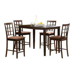"Acme - 5 PC Cardiff Rectangular Espresso Finish Wood Counter Height Dining Table Set - 5-Piece Cardiff rectangular espresso finish wood counter height dining table set. This set features a rectangular top table with an espresso finish wood and grid back chairs with fabric upholstered seat cushions. Table measures 32"" W x 48"" x 36"" H. Stools measure 24"" H to the seat. Some assembly required."