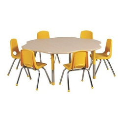 """Ecr4kids - Ecr4Kids Kids Playroom Adjustable Activity Table - Flower 60"""" Elr-14102-Gbl-Tb - Table tops feature stain-resistant and easy to clean laminate on both sides. Adjustable legs available in 3 different size ranges: Standard (19""""-30""""), Toddler (15""""-23""""), Chunky (15""""-24""""). Specify edge banding and leg color. Specify leg type."""