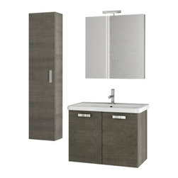 ACF - 30 Inch Grey Oak Bathroom Vanity Set - Set Includes: Vanity Cabinet (2 Doors), high-end fitted ceramic sink, wall mounted vanity mirror, tall storage cabinet. Vanity Set Features: Vanity cabinet made of engineered wood. Cabinet features waterproof panels. Vanity cabinet in grey oak finish. Van