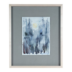 Lost Art Salon - Original Abstracted Landscape Night Scene by Alysanne McGaffey, Framed - This haunting moonrise over the treetops is sure to entrance wherever you hang it. The watercolor-on-paper piece is by noted painter Alysanne McGaffey, a member of the Bay Area Figurative Movement of the late 1950s and early '60s.