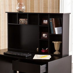 Southern Enterprises - Torres Hutch - Features an open computer area and 8 shelf compartments. Open area: 24.5 in. W x 6.75 in. D x 15.25 in. H. Small compartments above open area: 7.5 in. W x 6.5 in. H x 6.75 in. D (each of 3). Small compartments right of open area: 6.5 in. W x 6.5 in. D x 7.5 in. H (top to bottom). Shelves on right side: 8.5 in. W x 6.5 in. D x 11.25 in. H (top/bottom). Painted black finish. Max weight capacity: 20 lb.. Constructed of poplar, MDF, and painted finish. Assembly required. Overall Dimensions: 8 in. D x 44 in. W x 24.25 in. H (37 lbs)Don't settle for a workspace that doesn't have offer adequate storage and a style you love. The ample space and simple lines of this hutch are sure to impress and de-stress. This hutch features an open computer area and eight shelf compartments. It offers a lovely painted black finish with a clean, modern design.The sleek finish and storage-focused design make this hutch a great choice for homes with transitional to modern decor. Add this hutch to your home office or bedroom for a workstation that really works.
