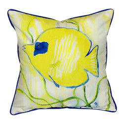 Betsy Drake - Betsy Drake Yellow Tang Pillow- Indoor/Outdoor - Yellow Tang Pillow- Large indoor/outdoor pillow. These versatile pillows are equal at enhancing your homes seaside decor and adding coastal charm to an outdoor setting arrangment. They feature printed outdoor, fade resistant fabric for years of wear and enjoyment. Solid back, polyfill. Proudly made in the USA.