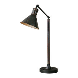 Uttermost Arcada Desk Lamp - Oxidized bronze finish with aged black details and two pivoting mechanisms. Oxidized bronze finish with aged black details and two pivoting mechanisms.