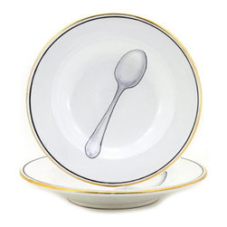 Artistica - Hand Made in Italy - POSATA: Rim Pasta/Soup plate - POSATA Collection. A Deruta of Italy clever dinnerware design by retailer, author and trendsetter Peri Wolfman.