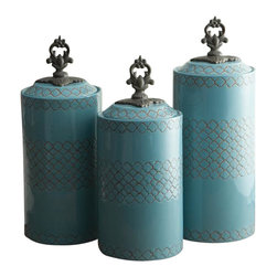 "Jay Companies - American Atelier Blue Canister Set - Three different canisters, three different sizes. Why keep food staples in unsightly plastic containers? Store all your dry food and goods in these attractive blue ceramic canisters. The canisters itself are decorated with a beautiful and intricate design on the walls, and boasting a metal finial for convenient lifting of the lids. * Set of 3 * Dimensions: Large: 12.41"" tall, Medium: 11.3"" tall, Small: 10.4"" tall. 4.5"" in diameter. * Care: Hand wash * Includes rubber gasket on top to insure freshness"