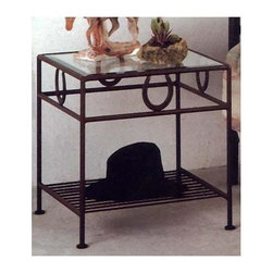 Grace Collection - Horseshoe Night Stand w Beveled Glass Top - Made from wrought iron. Made in USA. 21 in. W x 21 in. D x 22 in. H (42 lbs.)