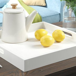 Convenience Concepts - Serving Tray in White Finish - Square shape. Limited warranty. Made form painted wood. No assembly required. 16.6 in. W x 16.6 in. D x 2 in. H (5 lbs.)Exciting new design from Convenience Concepts. Inc. that combines urban design and multi-function use.