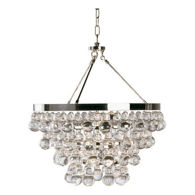 """Bling Chandelier by  Robert Abbey - Bling Bling! This may be called the """"Bling Chandelier"""" but it is actually very tasteful, and is NOT the lighting equivalent of a huge dollar sign necklace from Jacob the Jeweler. Instead, it's beautiful glass droplets from Robert Abbey Lighting, perfect for lighting up any room from Hollywood Regency to Uber Modern. Bling Bling? Yum Yum!"""