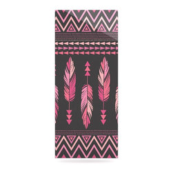 """Kess InHouse - Amanda Lane """"Painted Feathers Gray"""" Pink Dark Metal Luxe Panel (9"""" x 21"""") - Our luxe KESS InHouse art panels are the perfect addition to your super fab living room, dining room, bedroom or bathroom. Heck, we have customers that have them in their sunrooms. These items are the art equivalent to flat screens. They offer a bright splash of color in a sleek and elegant way. They are available in square and rectangle sizes. Comes with a shadow mount for an even sleeker finish. By infusing the dyes of the artwork directly onto specially coated metal panels, the artwork is extremely durable and will showcase the exceptional detail. Use them together to make large art installations or showcase them individually. Our KESS InHouse Art Panels will jump off your walls. We can't wait to see what our interior design savvy clients will come up with next."""