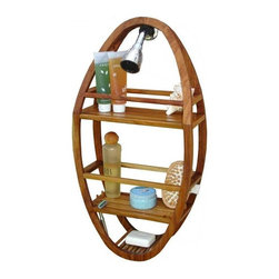 Aqua Teak - Teak Oval Shower Organizer - Naturally weather resistant. Hangs on a shower head or hook. Two spacious product shelves. Water draining bar soap tray. Two razor ports. Four pegs for hanging items. Will not rust, corrode or pit and has the rich timeless beauty of teak. A soft rubber hanging pad is included to help it grip the shower head or hook. Two clear suction cups included mount to the caddy for stabilization. 13 in. L x 5 in. W x 25 in. HAll material is sustainably harvested teak from certified EcoSafe plantations. Teak wood has a life expectancy of 75 years if left untreated due to its natural rubber content that naturally resists moisture. No other wood compares to Teak when it comes to durability, elegance, stability and low maintenance. Provides both functional and aesthetic features to your decor.. 13 in. L x 5 in. W x 25 in. H