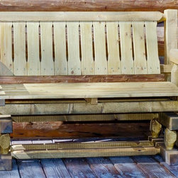 Montana Woodworks - 54 in. Handcrafted Glider - Heirloom quality. Rustic timber frame design. Made from solid U.S. grown wood. Made in USA. Minimal assembly required. 54 in. W x 26 in. D x 34 in. H (98 lbs.). Warranty. Use and Care InstructionsA popular item for the front porch, this glider is enjoyed by many. This glider design incorporates glides that allow it to gently rock back and forth.