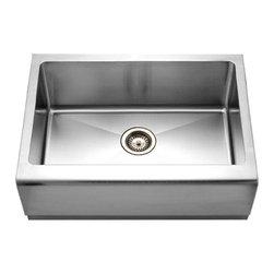 Houzer - Houzer EPS-3000 Single Bowl Undermount Sink with Bottom Grid and Strainer - Houzer Stainless Steel kitchen sink Farmhouse sink 16/18 gauge Epicure Single Bowl.